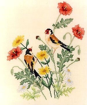 European Goldfinches - Cross Stitch Pattern