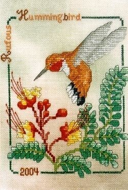Rufous Hummingbird 2004 - Cross Stitch Pattern