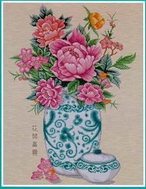 Peony in Vase - Cross Stitch Pattern