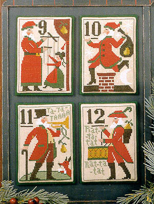 Santa's 12 Days 9 - 12 - Cross Stitch Pattern