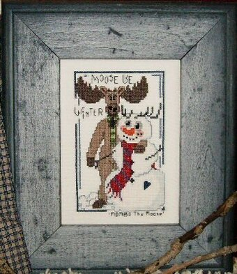 Moose Be Winter - Cross Stitch Pattern (with button)