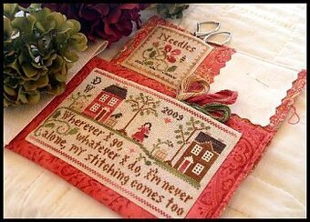 Traveling Stitcher (with threads) - Cross Stitch Pattern