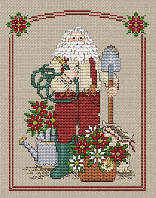 Poinsettia Santa - Cross Stitch Pattern