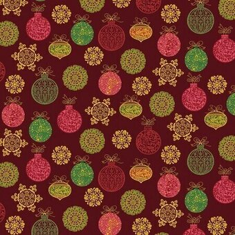 Christmas Ornaments With Metallic Red Cotton Yardage