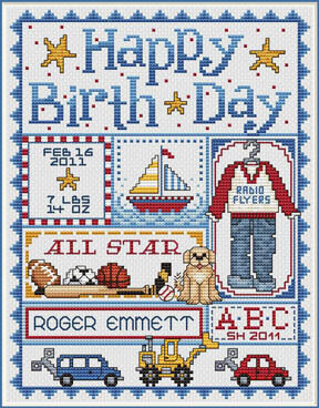 Happy Birth Day (Boys) - Cross Stitch Pattern