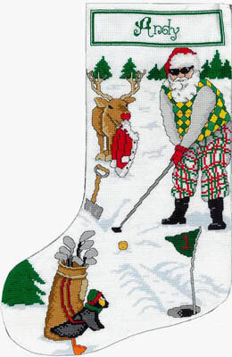 Golfing Santa Stocking - Cross Stitch Pattern