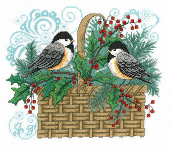Winter Chickadee Basket - Cross Stitch Pattern