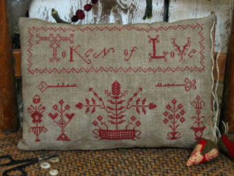 Token of Love Redwork Sampler - Cross Stitch Pattern