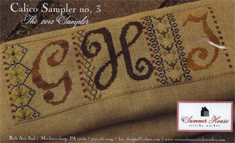 Calico Sampler 3  (G H I) - Cross Stitch Pattern