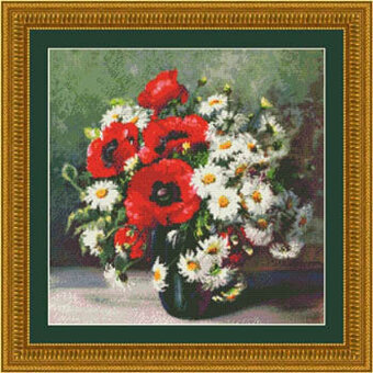 Poppies and Daisies - Cross Stitch Pattern