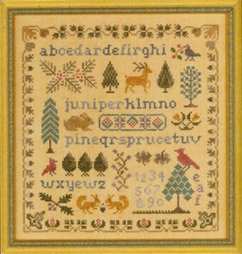 Antique  Evergreen Sampler - Cross Stitch Pattern