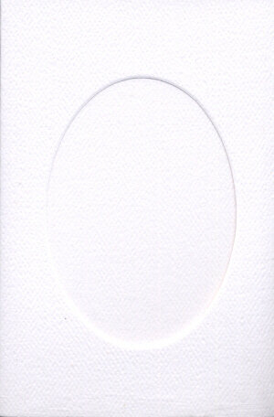 Small White Aperture Window Card - Oval Opening