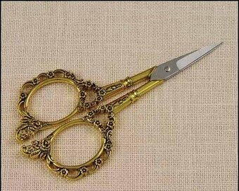Victorian Embroidery Scissors with Gold Handles