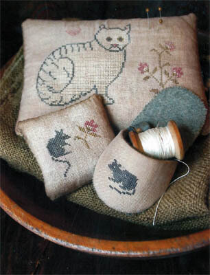 Cat & Mouse Pinkeeps & Slipper - Cross Stitch Pattern