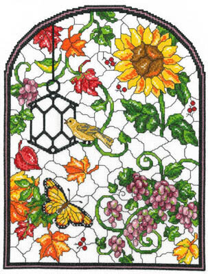 Autumn Stained Glass - Cross Stitch Pattern