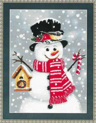 Birdhouse Snowman - Cross Stitch Pattern
