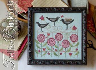 Trellis Blackbirds - Cross Stitch Pattern