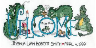 Dragon Welcome Birth Announcement - Cross Stitch Pattern