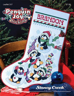 Penguin Joy Stocking - Cross Stitch Pattern