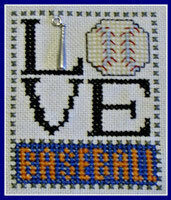 Love Baseball w/charm - Cross Stitch Pattern