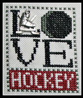 Love Hockey w/charm - Cross Stitch Pattern