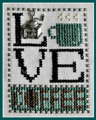 Love Coffee (w/charm) Cross Stitch Pattern
