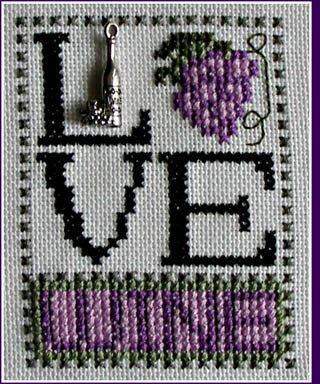 Love Wine (w/charm) Cross Stitch Pattern