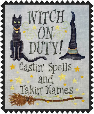 Witch On Duty - Cross Stitch Pattern