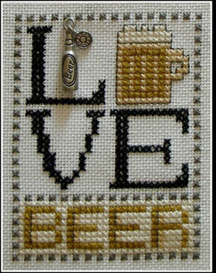 Love Beer (with charm) - Cross Stitch Pattern