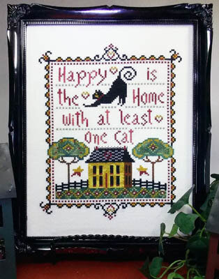 Happy is the Home with at Least One Cat Cross Stitch Pattern