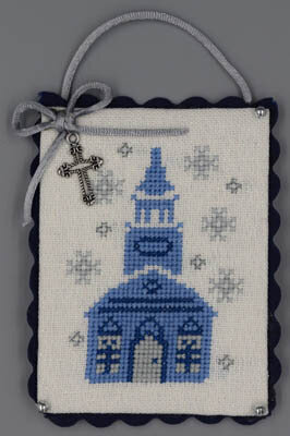 Church (Blue & Silver Christmas) - Cross Stitch Pattern