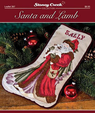 Santa and Lamb Stocking - Cross Stitch Pattern