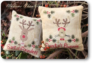 Santa's Reindeer & Bunnie - Cross Stitch Pattern