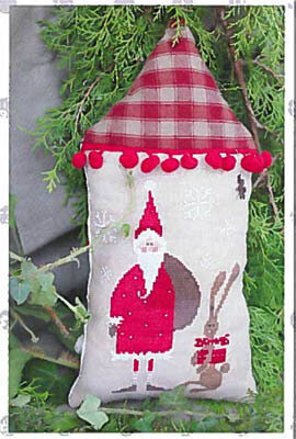 Santa with his Helper - Red - Cross Stitch Pattern