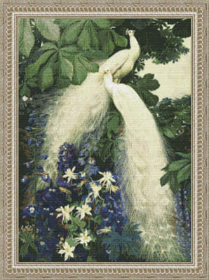 White Peacock Garden - Cross Stitch Pattern