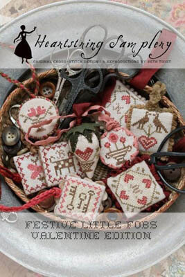 Festive Little Fobs 1 - Valentine - Cross Stitch Pattern