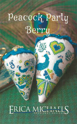 Peacock Party Berry - LINEN Berry - Cross Stitch Pattern