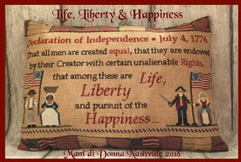 Life Liberty & Happiness - Cross Stitch Pattern