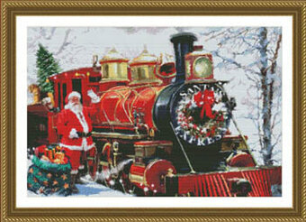 Santa's Express Train - Cross Stitch Pattern