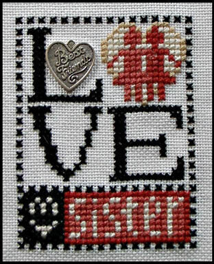 Love My Sister (w/charm) - Cross Stitch Pattern