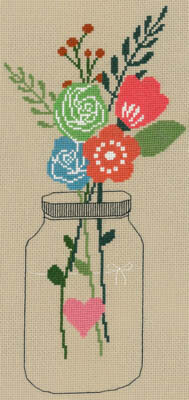 Mason Jar Flowers - Cross Stitch Pattern