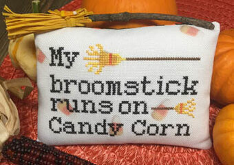 Candy Corn Broom - Cross Stitch Pattern