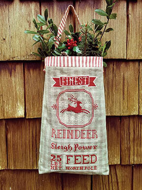 Reindeer Feed Sack - Cross Stitch Pattern