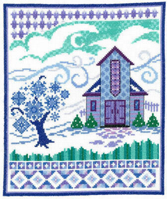 Barn with Winter Quilts - Cross Stitch Pattern