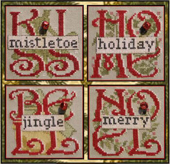 Four Christmas (with bells) - Cross Stitch Pattern