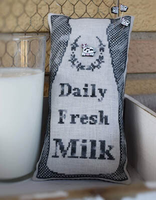 Dairy Fresh Milk (w/button) - Cross Stitch Pattern