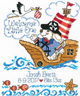 Pirate Birth Record - Cross Stitch Pattern