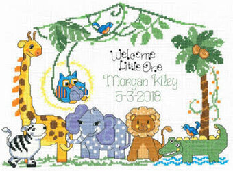 Jungle Family Birth Record - Cross Stitch Pattern