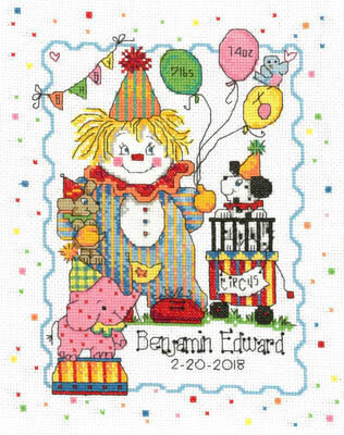 Circus Birth Record - Cross Stitch Pattern