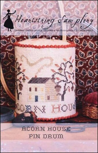 Acorn House Pin Drum - Cross Stitch Pattern